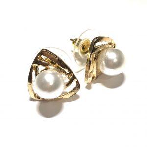gull-perle-triangel-øredobber-ørepynt