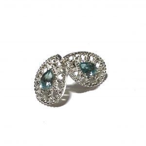 sølv-turkis-blå-dråpe-øredobber-ørepynt
