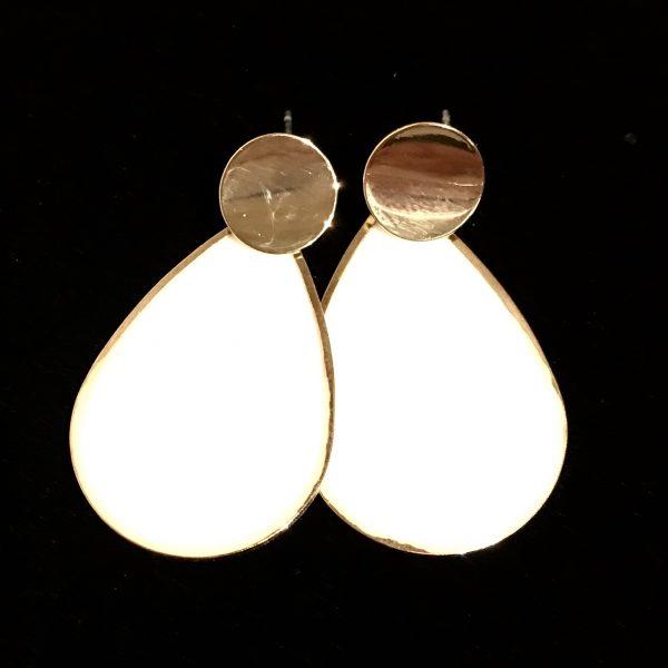 gull-hvit-dråpe-øreanheng-ørepynt