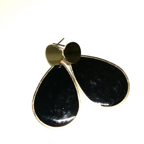 gull-sort-dråpe-øreanheng-ørepynt