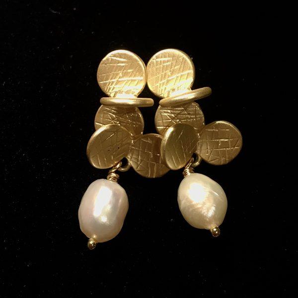matt-gull-ferskvannsperle-øredobber-ørepynt-øreanheng