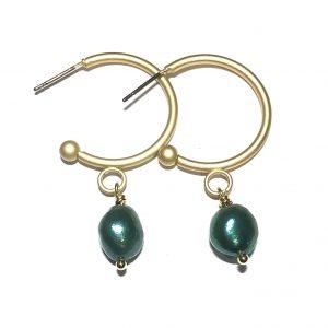 grønn-ferskvannsperle-matt-gull-maritim-ørering-ørepynt