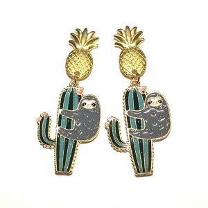 grønn-grå-gull-ananas-kaktus-dovendyt-morsom-sommer-øreanheng-ørepynt