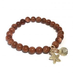 brun-glitter-sandstone-maritim-skjell-armbånd