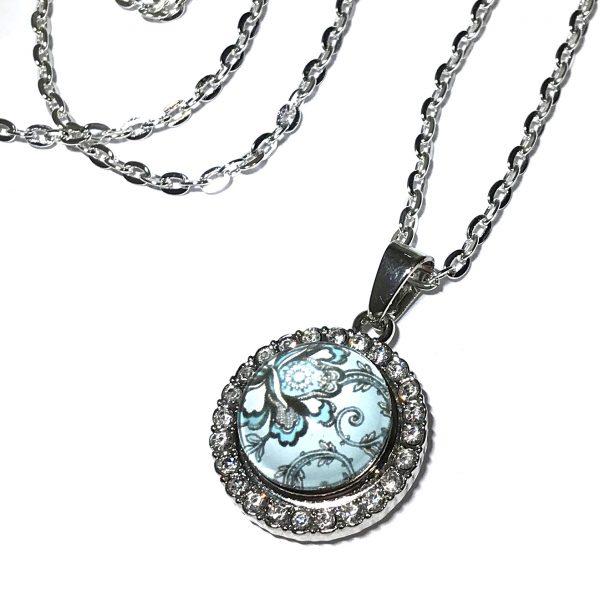 blå-blomst-glitter-smykke-halskjede