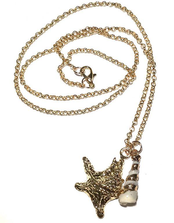 gull-skjell-maritim-smykke-halskjede