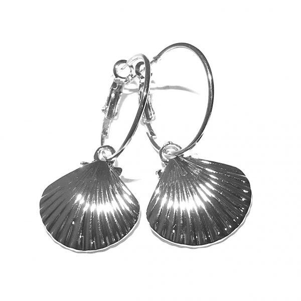 sølv-kamskjell-skjell-maritim-ørepynt-øreringer