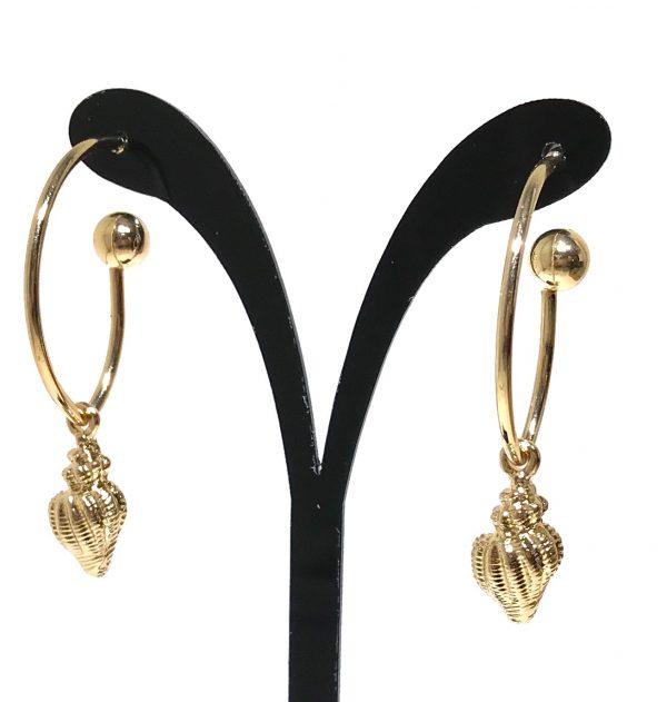 gull-skjell-maritim-ocean-øreringer-øreanheng-ørepynt