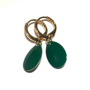 14K-gull-grønn-dråpe-øreringer-ørepynt
