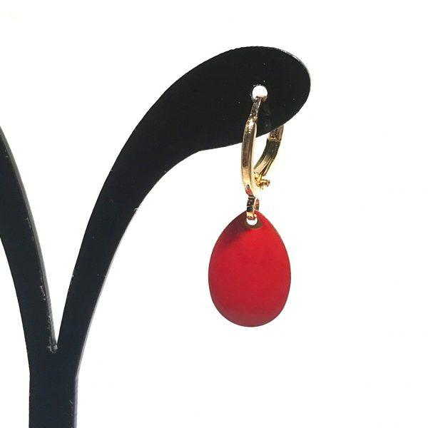 14K-gull-rød-dråpe-øreringer-ørepynt