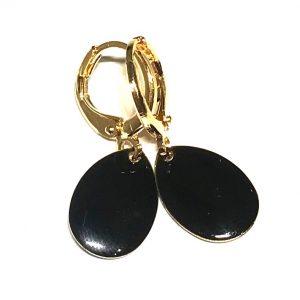 14K-gull-sort-dråpe-øreringer-ørepynt