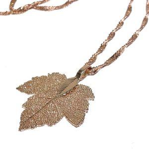 rosegull-blad-løv-smykke-halskjede