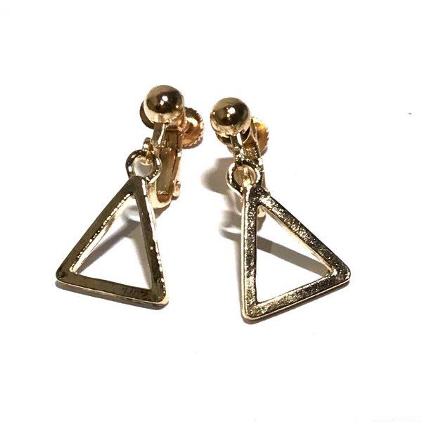 gull-triangel-skru-øreklips-klips-øredobber-ørepynt