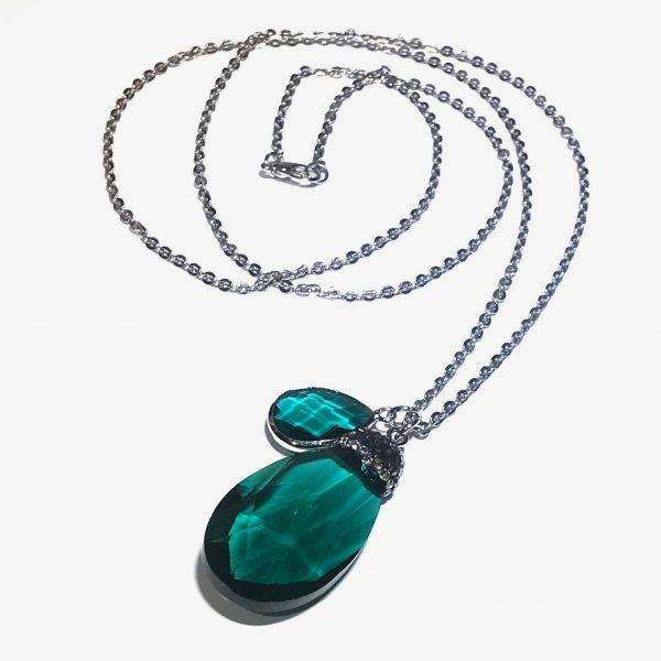 grønn-dråpe-glass-smykke-halskjede