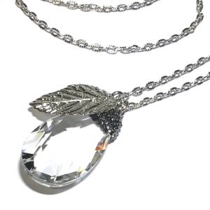blank-glass-dråpe-glitter-smykke-halskjede