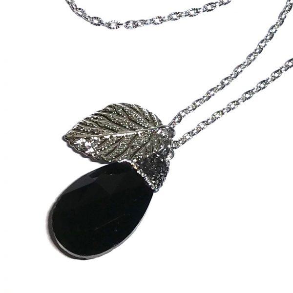 sort-glass-dråpe-glitter-smykke-halskjede