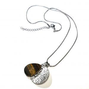 sølv-brun-tigerøye-smykke-halskjede