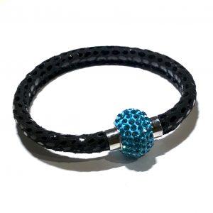 turkis-bling-glitter-lammeskinn-magnet-armbånd