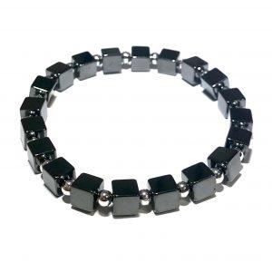 grå-sort-blodstein-hematitt-kube-elastisk-armbånd