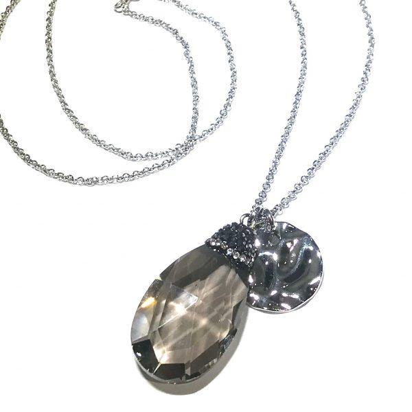 grå-glass-dråpe-glitter-smykke-halskjede