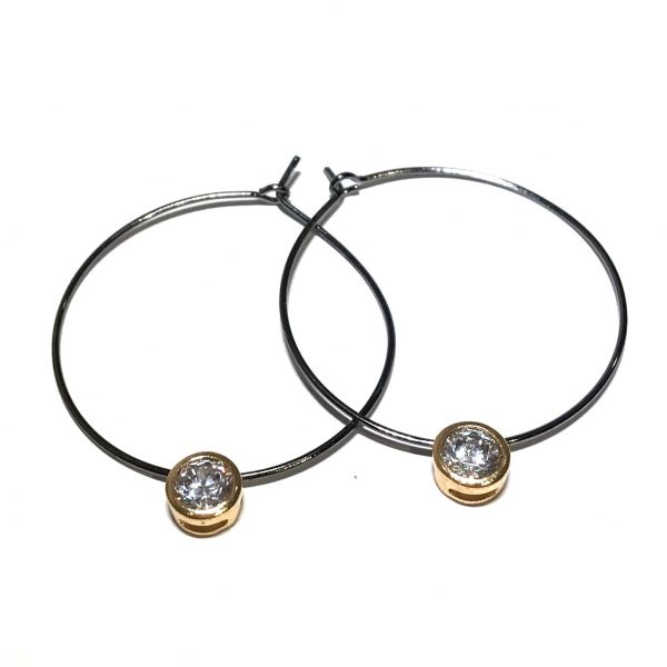 sølv-gull-zirkonia-øreringer-ørepynt