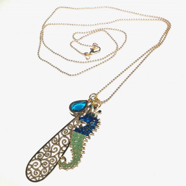 turkis-sjøhest-maritim-dråpe-smykke-halskjede