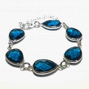 turkis-blå-dråpe-glass-armbånd