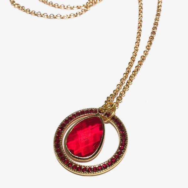 rød-glass-dråpe-glitter-ring-gull-smykke-halskjede