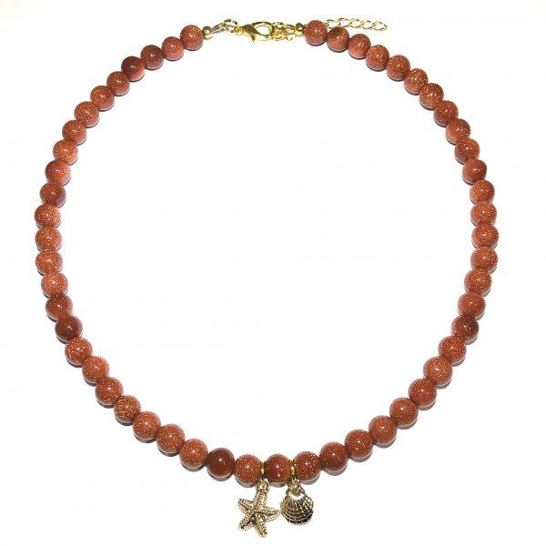 brun-glitter-gull-skjell-sjøstjerne-maritim-smykke