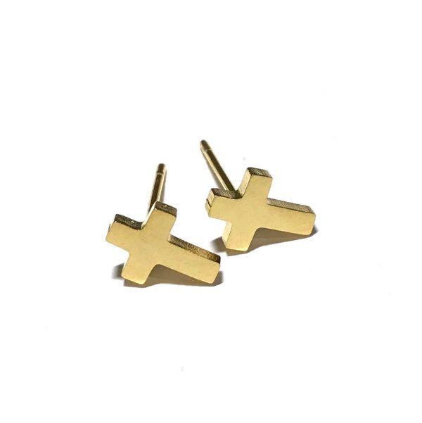 gull-stål-kors-øredobber-ørepynt