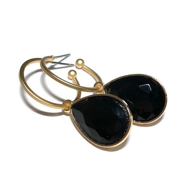 matt-gull-sort-dråpe-øreringer-ørepynt