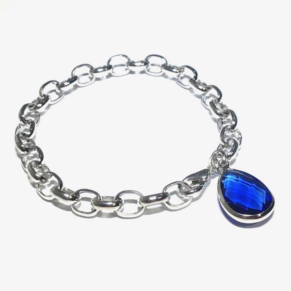 blå-glass-dråpe-klassisk-armbånd