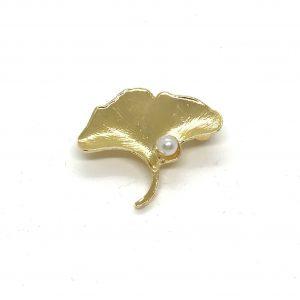 gull-perle-blomst-løv-blad-brosje-nål