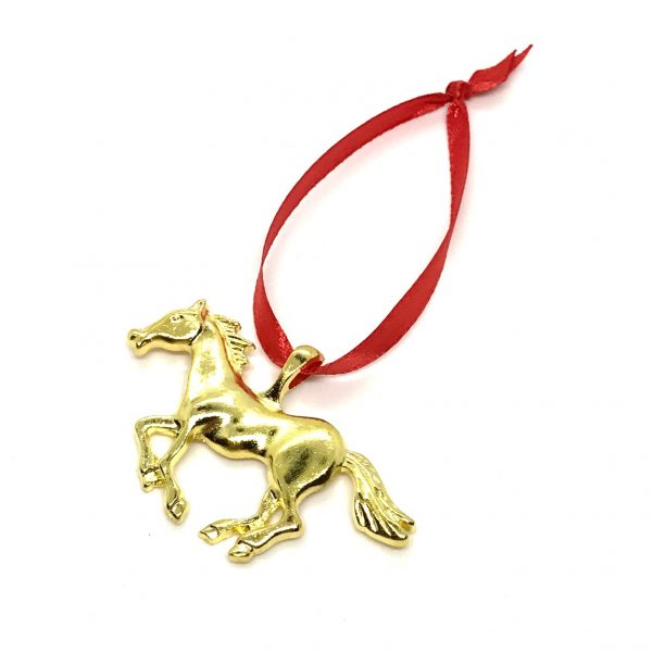 gull-hest-rød-juletrepynt-julepynt