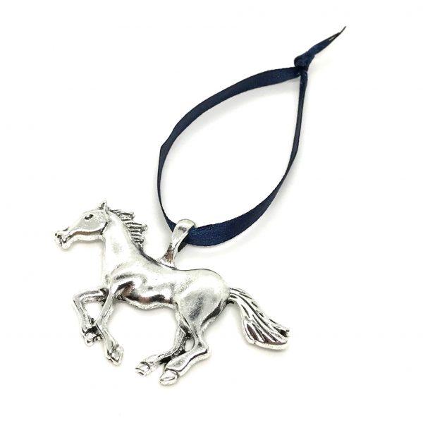 sølv-hest-blå-juletrepynt-julepynt