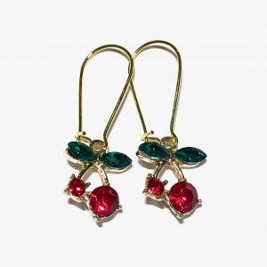 kirsebær-rød-grønn-øreanheng-ørepynt