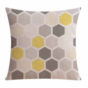 hexagon-skandinavisk-minimalistisk-interiør-pute-gul-grå