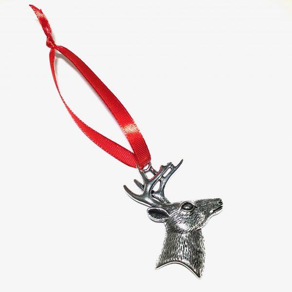 sølv-hjort-rød-juletrepynt-julepynt