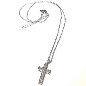 sølv-zirkonia-kors-smykke-halskjede