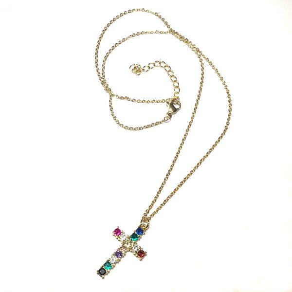 flerfarget-zirkonia-kors-smykke-halskjede