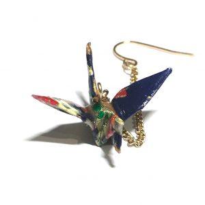 origami-fugl-blå-gull-ørepynt
