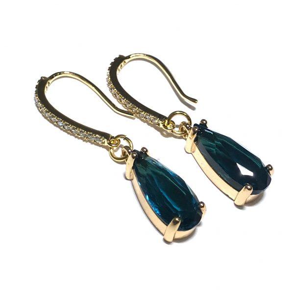 14K-gull-dråpe-turkis-blå-øreanheng-ørepynt