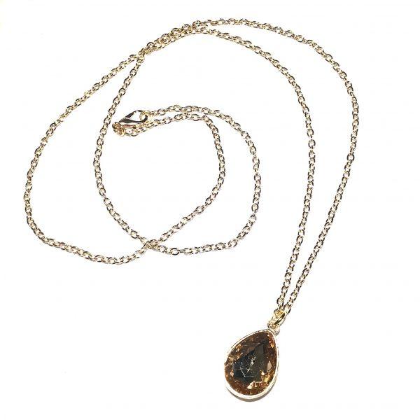 champagne-brun-glass-dråpe-elegant-gull-smykke-halskjede