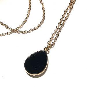 sort-glass-dråpe-elegant-gull-smykke-halskjede