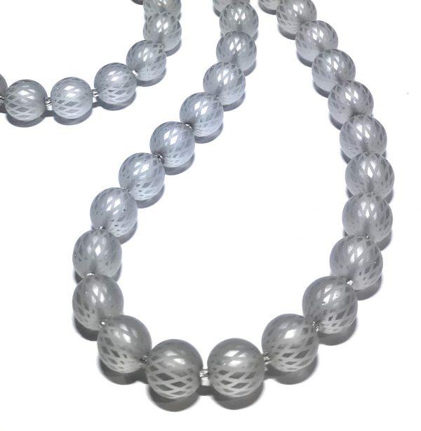 grå-glass-sølv-perle-smykke-halskjede