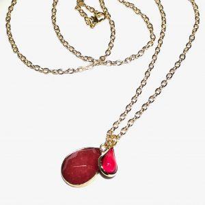 ød-stein-dråpe-glass-smykke-halskjede