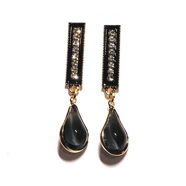 sort-bling-glitter-jul-dråpe-elegant-øreanheng-ørepynt