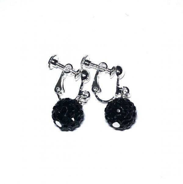 sølv-sort-skru-øreklips-klips-øredobber-ørepynt