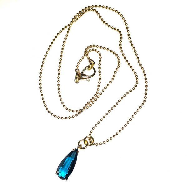 blå-turkis-glass-dråpe-smykke-halskjede