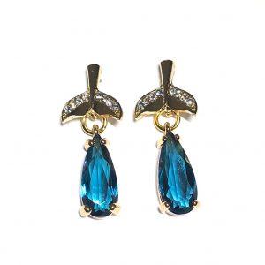 gull-blå-turkis-dråpe-hval-hale-øredobber-øreanheng-ørepynt